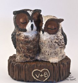 Realistic Great Horned Owls Wedding Cake Topper