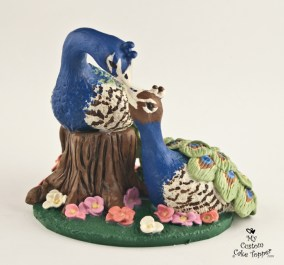 Peacock Love Wedding Cake Topper