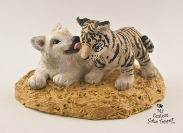 Wolf And Tiger Cub Wedding Cake Topper