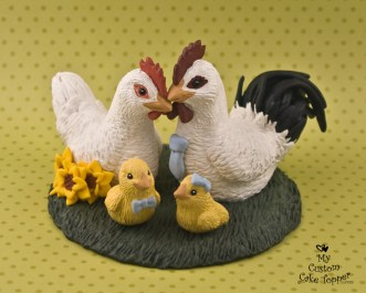 Chickens realistic Wedding Cake Topper