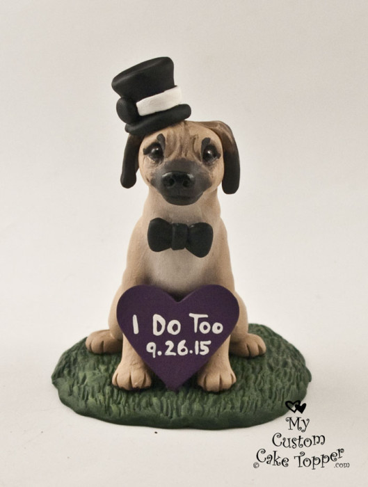 Dog Wedding Cake Toppers   My Custom Cake Topper Kate s Puggle Dog