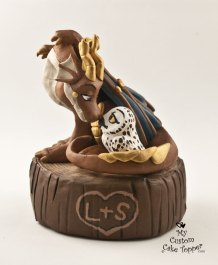 Dragon and Owl on a Tree Stump Cake Topper