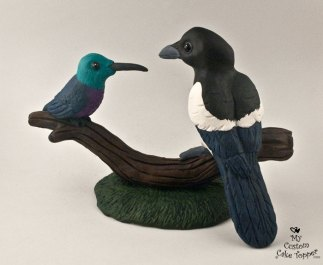 Magpie and Humming Bird Cake Topper