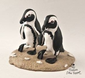 Penguins Walking on the Beach Cake Topper