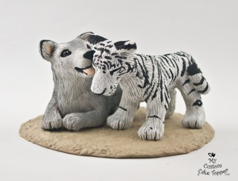 Wolf And White Tiger Cub