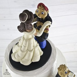 Alvin and the Chipmunks and Belle Dancing Wedding Cake Topper