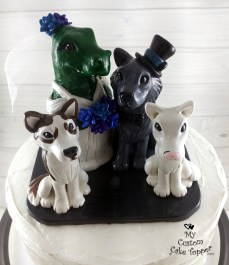 Dinosaur Bride, Wolf Groom with Dogs Cake Topper