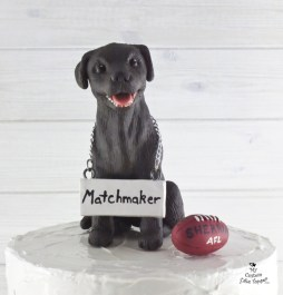 Dog Chocolate Lab Football Fan Wedding Cake Topper