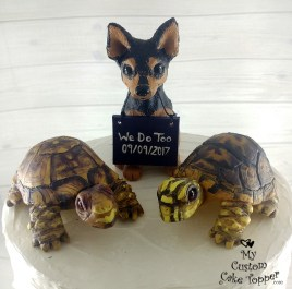 Chihuahua Dog and Tortoise Wedding Cake Topper