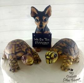 Chihuahua Dog and Tortoise Wedding Cake Topper