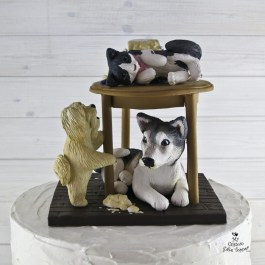 Dogs and Cat on Table Wrecked the Wedding Cake 1