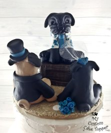 Pug Dogs Officiant and Bride and Groom Cake Topper