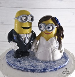 Minions Bride and Groom Winter Wedding Cake Topper