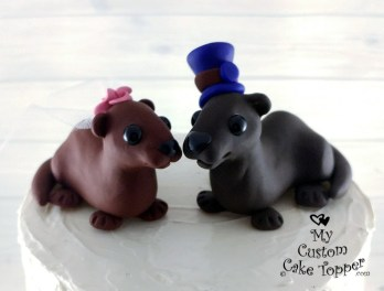 Otters Cute Animals Wedding Cake Topper