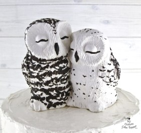 Realistic Snowy Owls Wedding Cake Topper