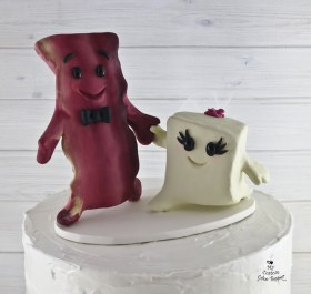 Tofu and Bacon Bride and Groom Wedding Cake Topper