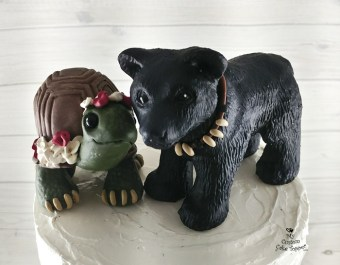 Land Turtle and Black Bear Custom Wedding Cake Topper