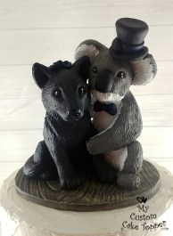Wolf and Koala Realistic Custom Wedding Cake Topper