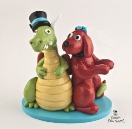 Dragon and Cliffard the Dog Custom Wedding Cake Topper