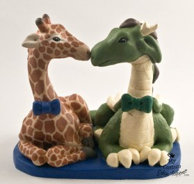 Dragon and Giraffe Males Custom Wedding Cake Topper