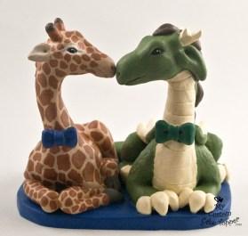 Dragon and Giraffe Males Custom Wedding Cake Topper