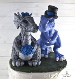 Dinosaur T-Rex and Dragon Realistic Wedding Cake Topper