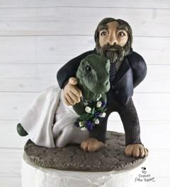 Dinosaur T-Rex and Sasquatch Big Foot Wedding Cake Topper