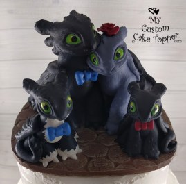 How to Train Your Dragon Family Wedding Cake Topper