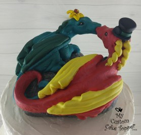 Dragons in a Heart Sculpture red and green