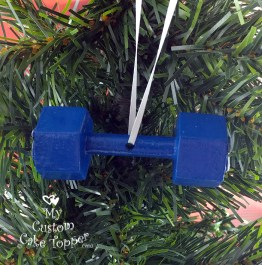 Dumbbell Blue Christmas Ornament