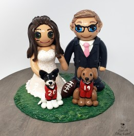 Bride and Groom Sports Dogs
