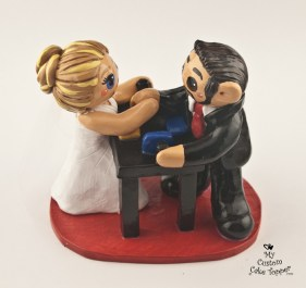 Bride and Groom Arm Wrestling Table Cake Topper