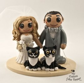 Bride and Groom with Cats Cake Topper
