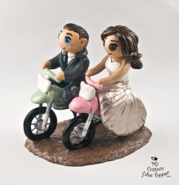 Bride and Groom Riding Dirt Bikes Cake Topper