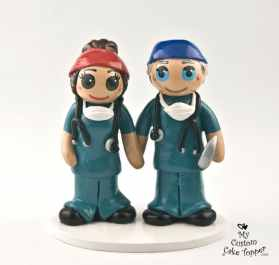 Bride and Groom Doctors Cake Topper