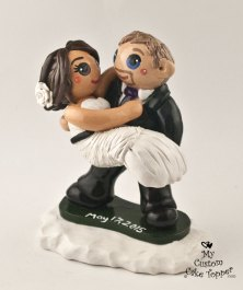 Bride and Groom Snow Boarding Cake Topper