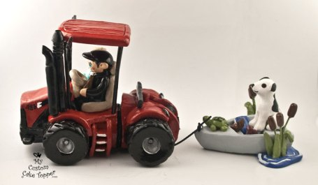 Bride and Groom Riding Tractor Pulling Boat Cake Topper 2