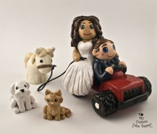 Bride and Groom Riding Tractor with Horse and Pets Cake Topper