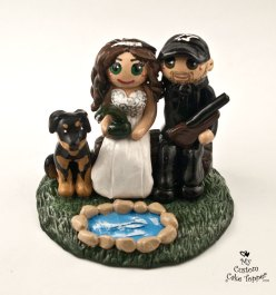 Bride and Groom with Dog Fishing