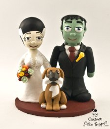 Frankenstein Bride and Groom with Dog Cake Topper