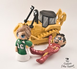 Bride and Groom Cat Machinery Ironman Cake Topper