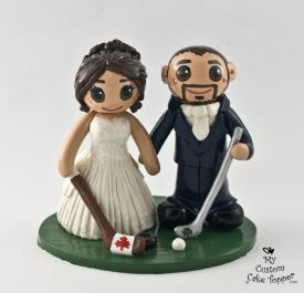 Bride and Groom Hockey and Golf Fans Cake Topper