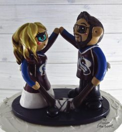 Bride and Groom Avalanche Hockey Fans Cake Topper