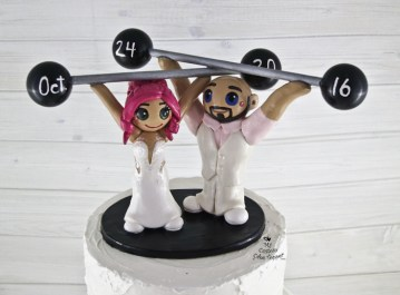 Bride and Groom Weightlifting Snatch Cake Topper
