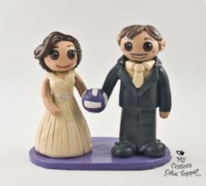 Bride and Groom Volleyball Fans Cake Topper