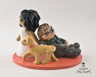 Bride Dragging Groom with Dog Cake Topper