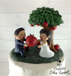 Bride and Groom with Apple Tree Cake Topper