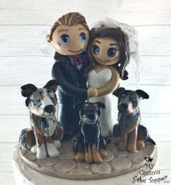 Bride and Groom Dog Family Cake Topper