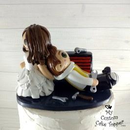 Bride Dragging Mechanic Groom Cake Topper
