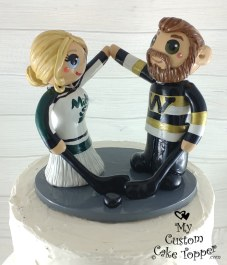 Bride and Groom High Fiving Hockey Fans Cake Topper